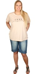 Cassiopeia - T-shirt with round neck and short up roll up on the sleeves and love print front