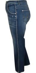 Cassiopeia - Jeans med 5 lommer og bæltestropper samt regulerbar elastik i taljen og smart sølv bånd ved lommer og i bukseben