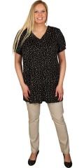 Zhenzi - T-shirt/tunika med korte ærmer og v hals, med smarte prikker