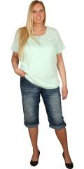 Zhenzi - T-shirt med korte ærmer, samt rund hals med pynte stolpe lukning
