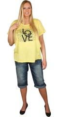 Zhenzi - T-shirt med korte ærmer i flot meleret stof med print og pailetter