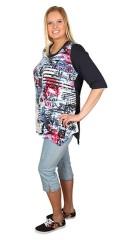 Zizzi - Jeans legging 3/4 med strekk og strikk i hele taljen. Små slisser i sidene