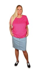 Zizzi - Denim nederdel med strech, 5 lommer, lynlås og bæltestropper. let slidt effekt