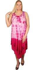 DNY (Marc Lauge) - Tunika klänning med rund hals och utan ärmar, i batik färger och lätt broderi