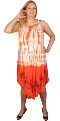 DNY (Marc Lauge) - Tunika kjole med rund hals og uden ærmer, i batik farver og let broderi