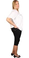 Zhenzi - Twist bengaline bukser med elastik i hele taljen og bæltestropper, lukkes med knap og lynlås, 4 lommer.