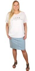 Cassiopeia - T-shirt med rundhals og kort op smøg på ærmerne og love tryk foran