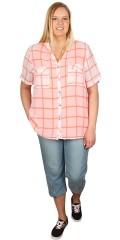 Cassiopeia - Skjorte med kort ærmer og flot tern, 2 bryst lommer