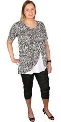 Zhenzi - Tunica blouse with short sleeves and round neck and with cheat top under front piece