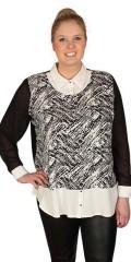 Zhenzi - Smart skjortebluse 2 i 1 med mange fine detaljer