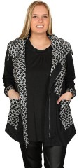 Gozzip - Zipped-through tunica/cardigan with big collar and pockets
