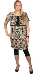 Juna Rose (Bestseller) - Smart klänning med rund hals och korta ärmar, i vacker mönster med införas i kontrast färg
