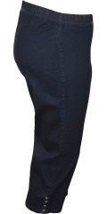 Zhenzi - Jazzy denim capri pants with rubber band in whole the waist and smart buttons in the legs