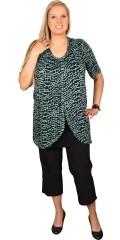 Zhenzi - Tunika bluse med korte ærmer og rund hals og med snyde top under forstykket