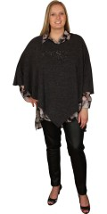Zizzi - Poncho with rough zipper in the back