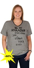 Handberg - T-shirt v cutting and short sleeves and super smart print with pearls