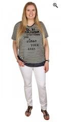 Handberg - T-shirt v-hals og korte ærmer og super smart tryk med pailetter