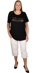 Handberg - T-shirt with short sleeves and light lace over the shoulder