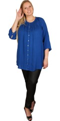 Zhenzi - All-buttoned shirt with 3/4 sleeves in light a-shaped