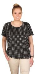 Zhenzi - T-shirt med rund hals og prikker, afsluttes med elastik forneden