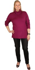 Handberg - Knit blouse with roll collar and long sleeves