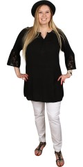 Zhenzi - Tunica blouse with trumpet sleeves with in sewn lace