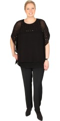 DNY (Marc Lauge) - Chiffon with diamonds and wing sleeves, sewn top