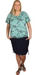 Zizzi - Nederdel med påsyede lommer og rib i taljen med snøre, kan draperes op i siderne
