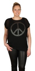 DNY (Marc Lauge) - Peace blouse with short sleeve and smart front piece in chiffon