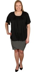 Studio - Striped skirt with rubber band in whole the waist with smart turn over effect