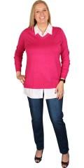 Zhenzi - Sød langærmet pullover med snyde skjorte
