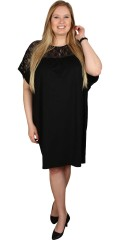 Gozzip - Oversize kjole tunika med blonde foroven og med vinge ærmer