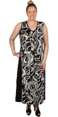 Gozzip - Lång klänning utan ärmar och med lätt v-hals och plisse i forsidan så den faller verkligen vacker