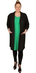 Gozzip - Open oversize cardigan jacket with 2 pockets and 3/4 sleeves