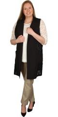 Gozzip - Smart lang vest med blonde i sidene, stor flott krave og lommer, med strekk