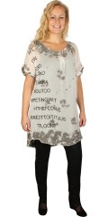 Que (Godske Group) - Que top with short sleeves with front piece in printed chiffon
