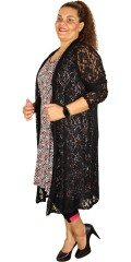 Que - Que long cardigan, light custom tailored in stylish strechy lace