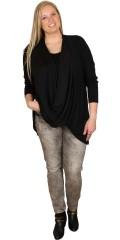Zhenzi - Oversize t-shirt med 3/4 ærmer og smart hals, kræver top under