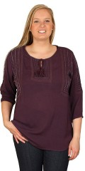 Cassiopeia - Crepe blouse round neck which are closed with tassels