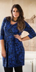 CISO (Brandtex) - Tunika / kjole med 3/4 ærmer og smart snit under brystet