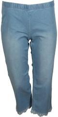 Zhenzi - Jazzy denim stumpe bukser med elastik i hele taljen