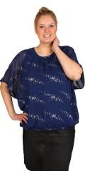 Zhenzi - Bluse med fastsyet foer og vingeærme