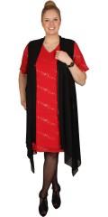 Zhenzi - Faconsyet kjole med korte ærmer og foer