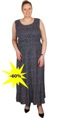 CISO (Brandtex) - Rigtig flot lang kjole med elastik i taljen i flot små prikket stof