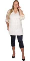 Studio - Super flot blonde bluse med elastik i bunden og ved ærmerne