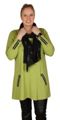 Handberg - Nice tunica with wide round neck and decorate zipper in both sleeves and front piece