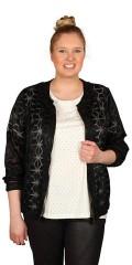 Zhenzi - Flot skjorte/jakke med mønster og med lynlås og elastik i talje og ærmer