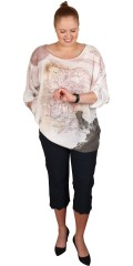 DNY (Marc Lauge) - Birgit blouse, gauzy crepe tunica with 3/4 sleeves, as can draped up