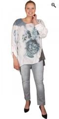 DNY (Marc Lauge) - Andrea blouse, florlet crepe tunica med 3/4 ærmer, som kan draperes op