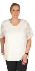 Zhenzi - Sweet short sleeved lace blouse in light a-shaped with v cutting